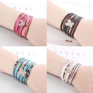 Jewelry - Black Python Leather Wrap Butterfly Charm Bracelet